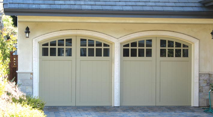 Carriage Garage Doors with Arch Windows